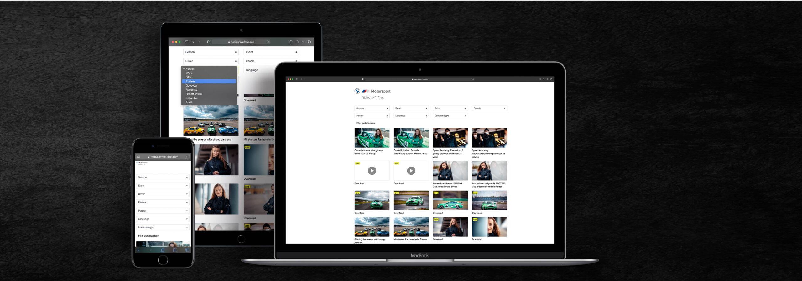 Für Journalisten, Partner und Fans – der Content Pool des BMW M2 Cup
